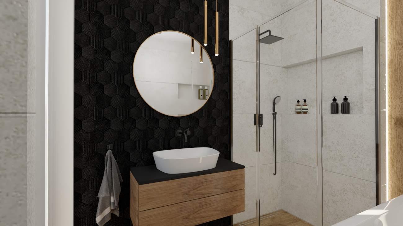 Łazienka czarna ściana i okrągłe lustro