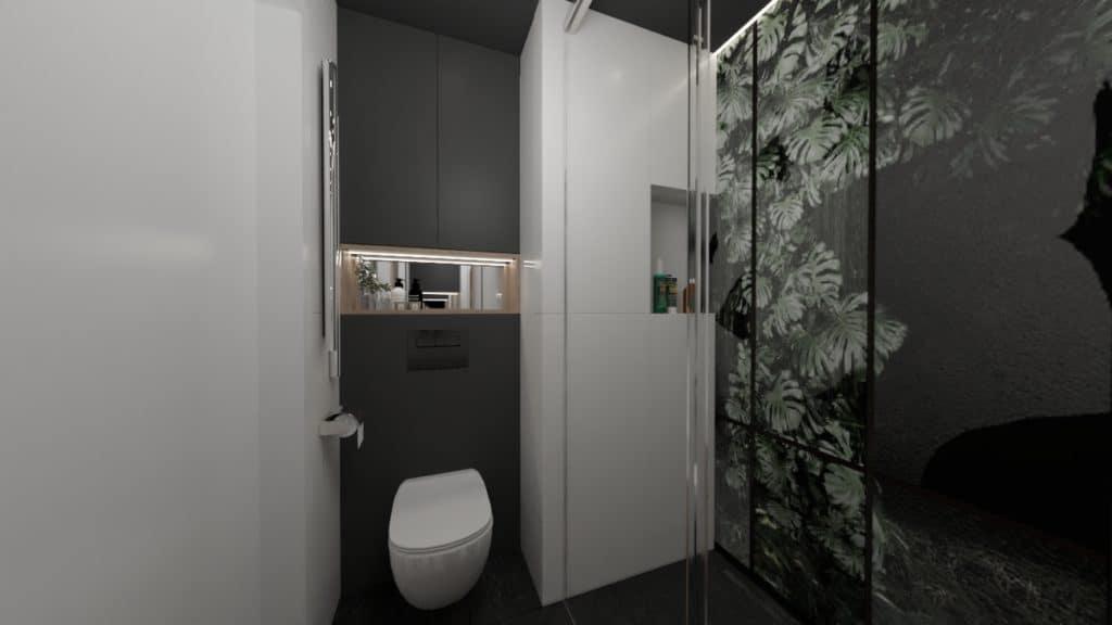projektanci wnętrz lazienka czarna z prysznicem motyw roslinny 3a Łazienka czarno-biała z naturalnym motywem
