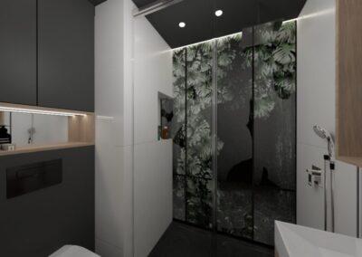 Łazienka czarno-biała z naturalnym motywem