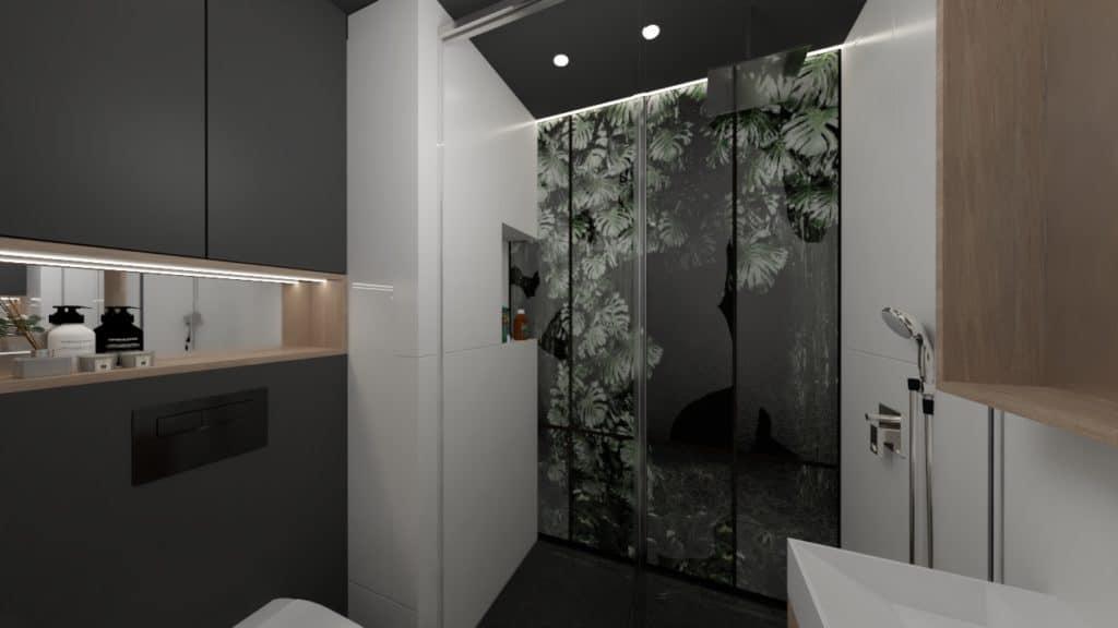 projektanci wnętrz lazienka czarna z prysznicem motyw roslinny 3b Łazienka czarno-biała z naturalnym motywem