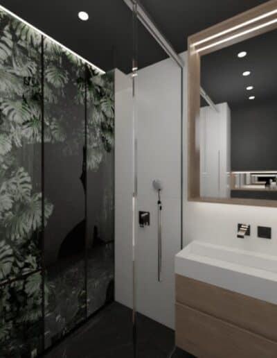 projektanci wnętrz lazienka czarna z prysznicem motyw roslinny 3c Łazienka czarno-biała z naturalnym motywem
