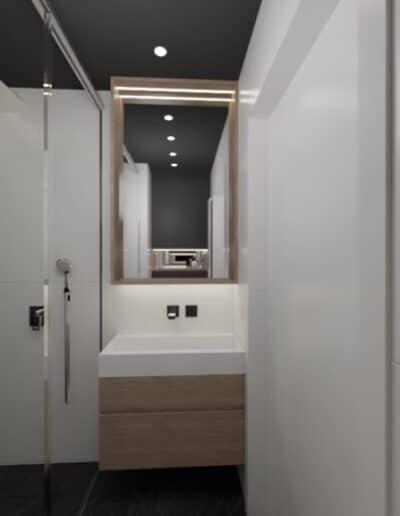 projektanci wnętrz lazienka czarna z prysznicem motyw roslinny 3d Łazienka czarno-biała z naturalnym motywem