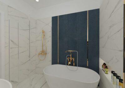 Łazienka marmur z granatem i odrobiną złota