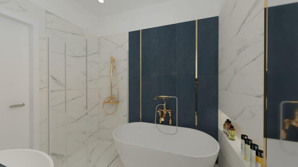 Łazienka marmur zgranatem iodrobiną złota