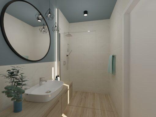 Łazienka kremowa zniebieskim