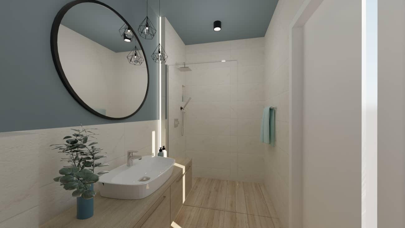 Łazienka kremowa z niebieskim