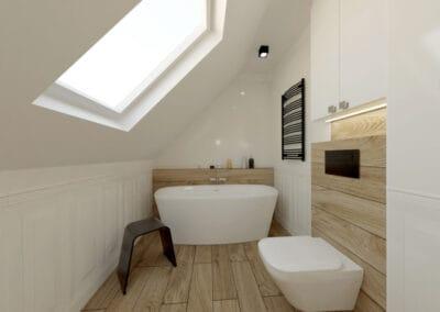 Łazienka na poddaszu z elementami klasyki