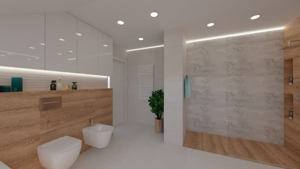 projektanci wnętrz lazienka na poddaszu z wanna duza 1h Salon kąpielowy