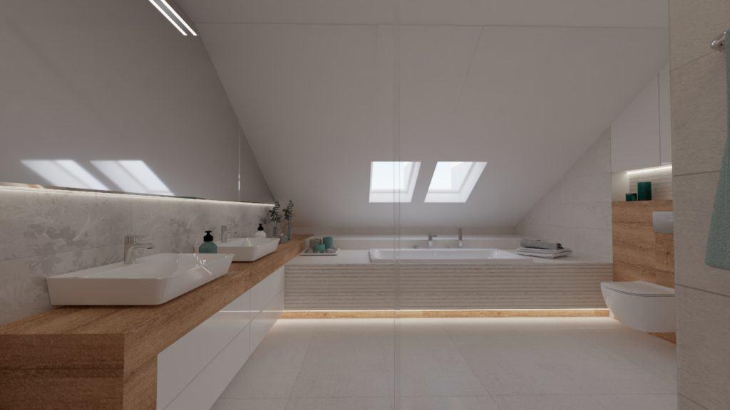 projektanci wnętrz lazienka na poddaszu z wanna i oknem 1f Salon kąpielowy