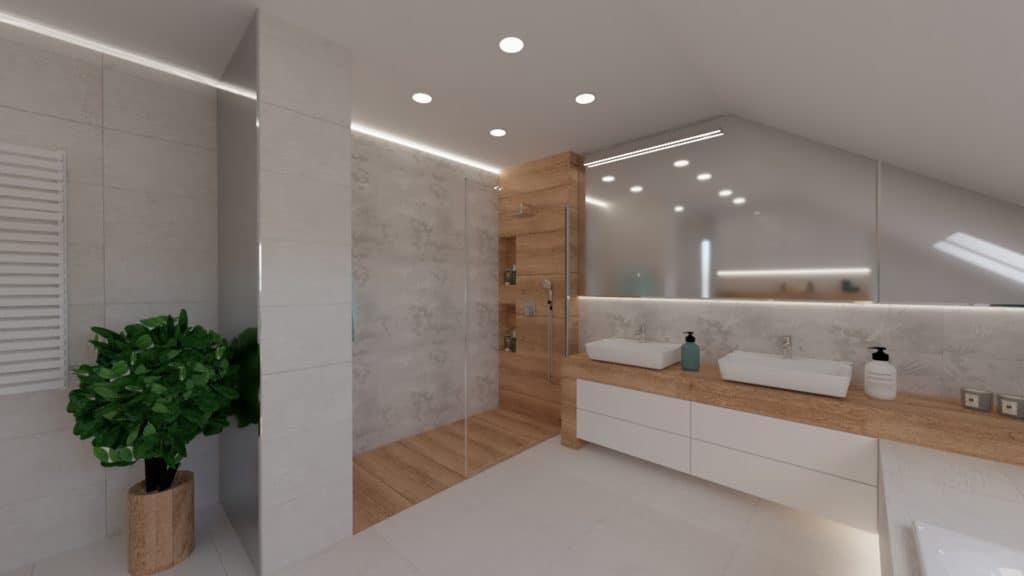 projektanci wnętrz lazienka na poddaszu z wanna i prysznicem 1d Salon kąpielowy