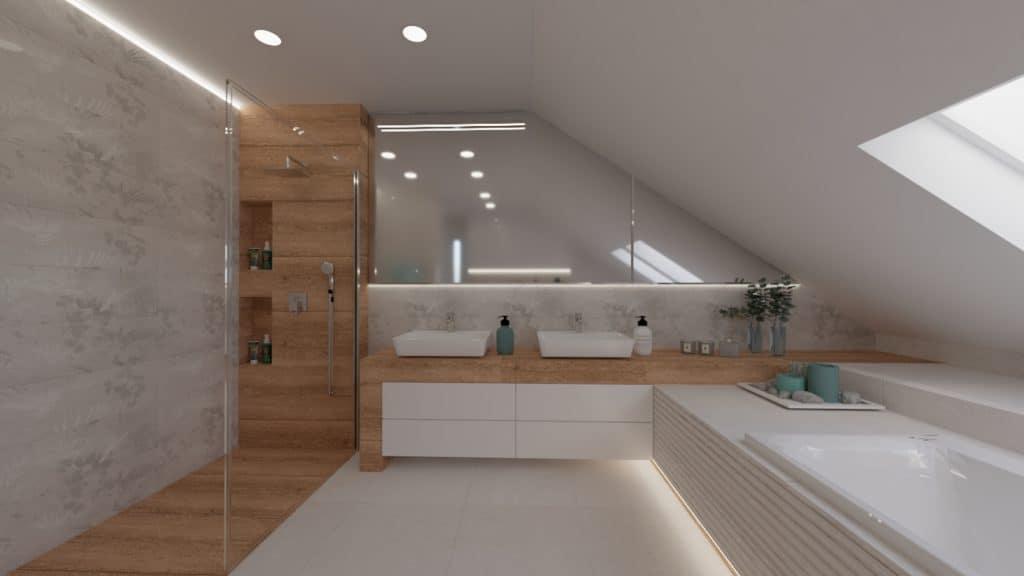 projektanci wnętrz lazienka na poddaszu z wanna i skosy 1e Salon kąpielowy