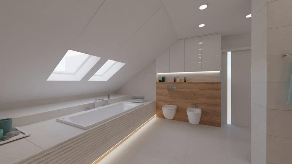projektanci wnętrz lazienka na poddaszu z wanna i toaleta 1g Salon kąpielowy