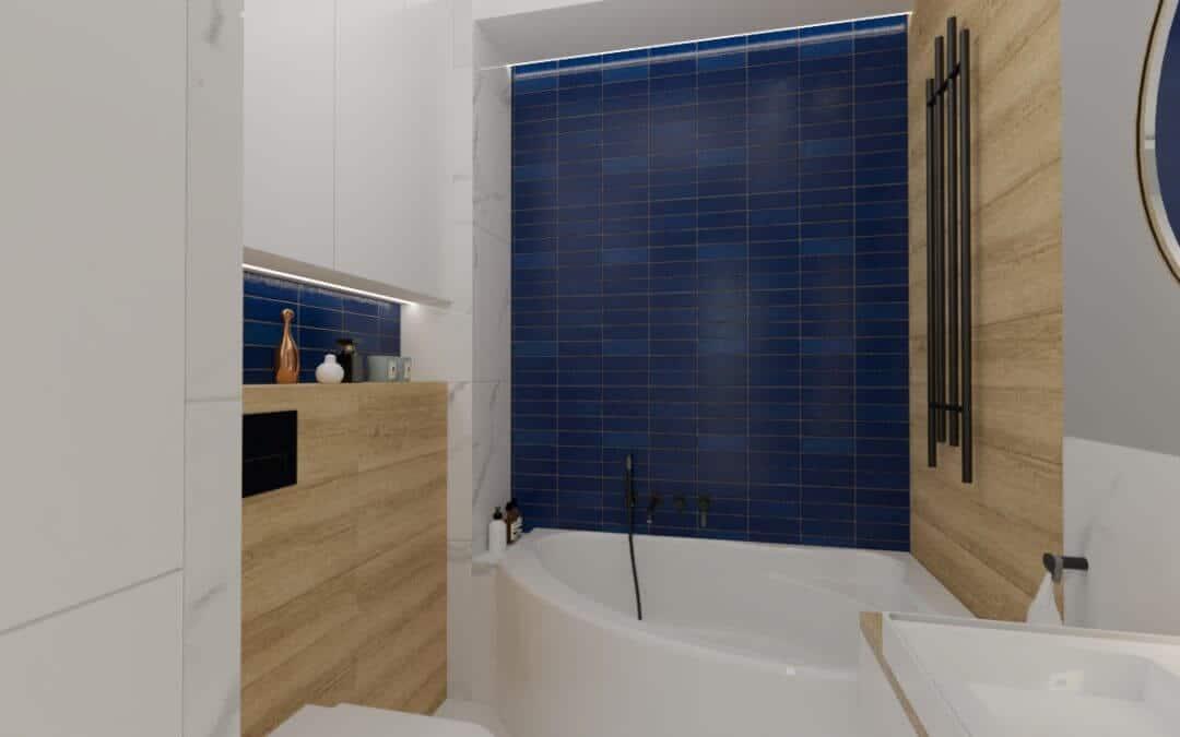 Łazienka niebieska z okrągłym lustrem