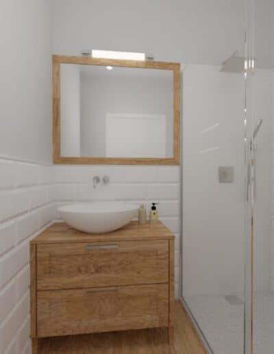 projektanci wnętrz lazienka od salonu 1b Mała łazienka z cegiełką