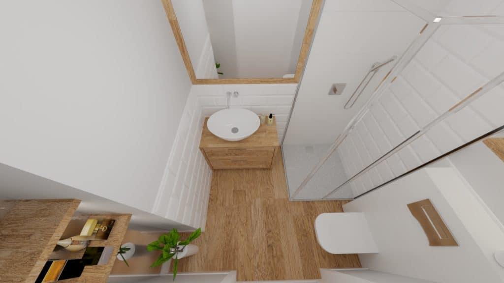 Mała łazienka zcegiełką