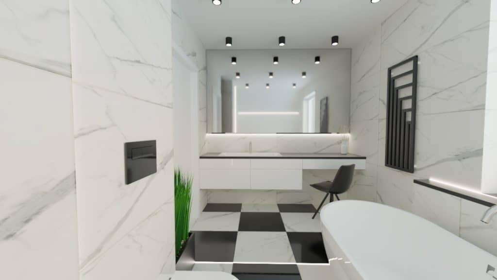 projektanci wnętrz lazienka podloga w szachownice 1c Łazienka podłoga w szachownice