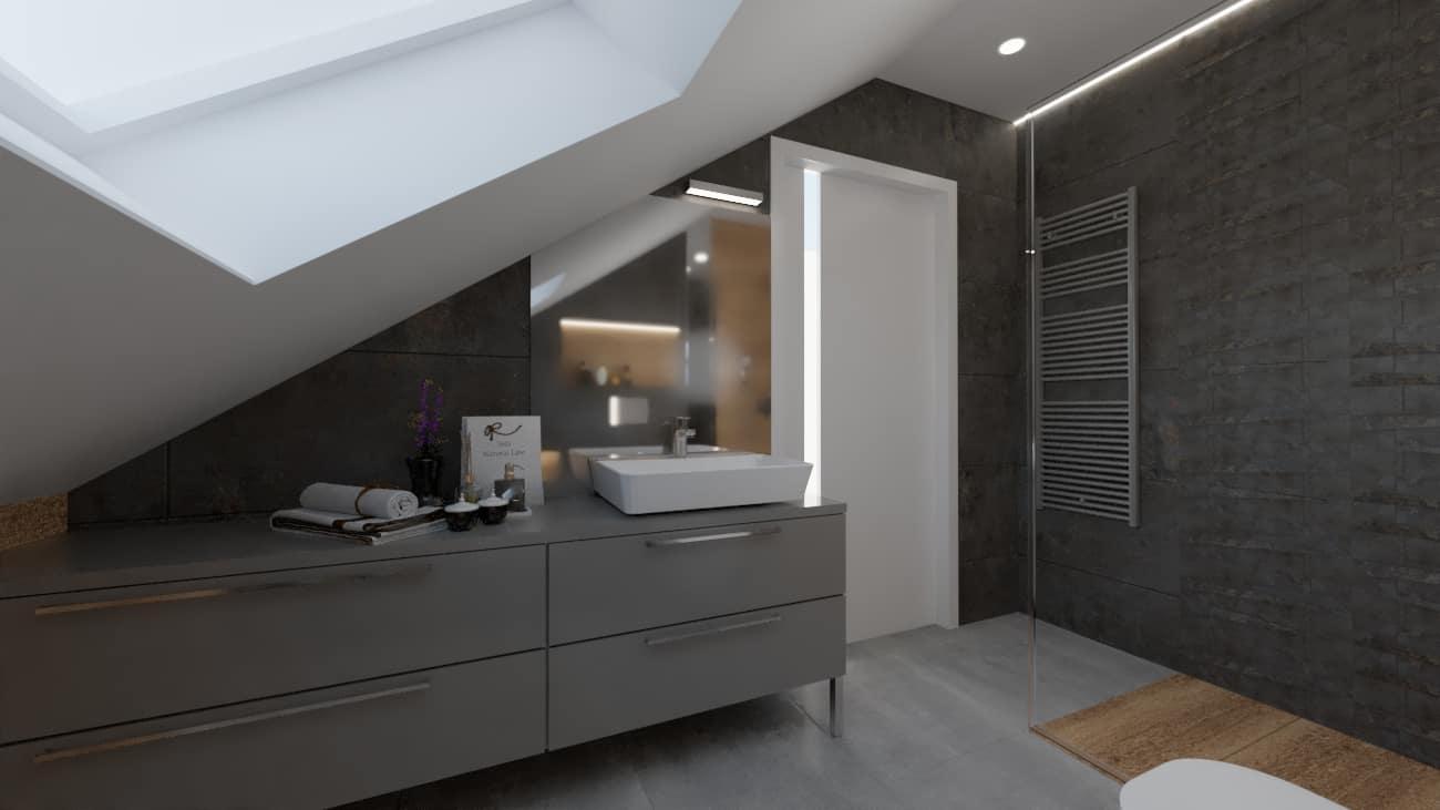 Łazienka z szarymi meblami