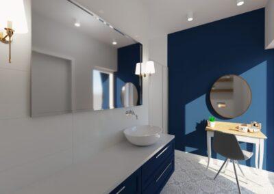 Łazienka ze wzorzystą podłogą
