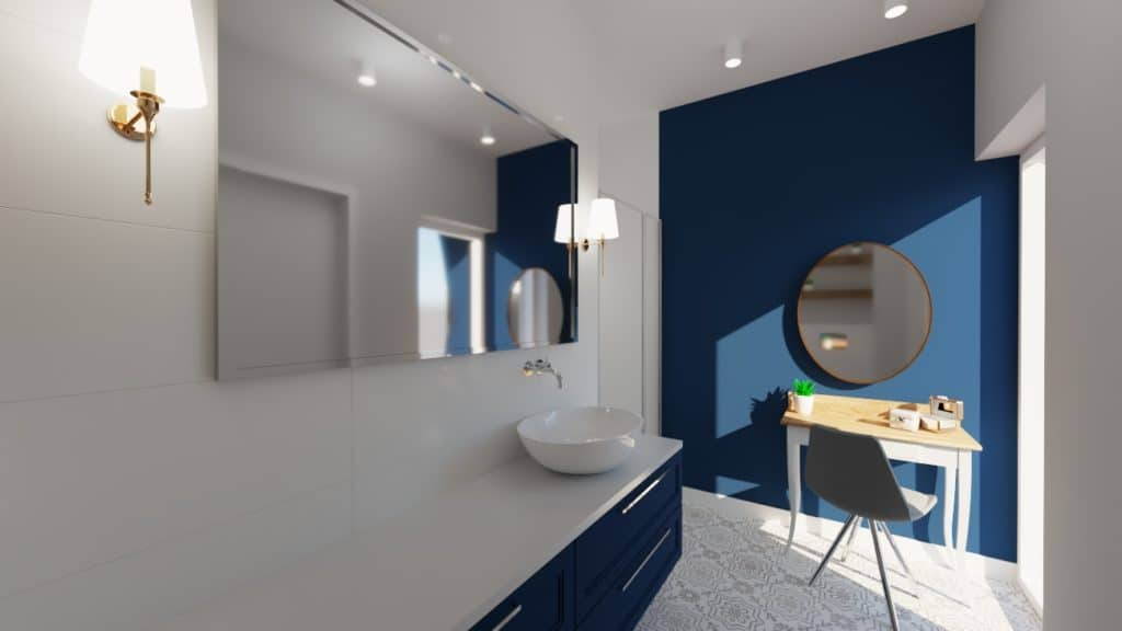 Łazienka zewzorzystą podłogą