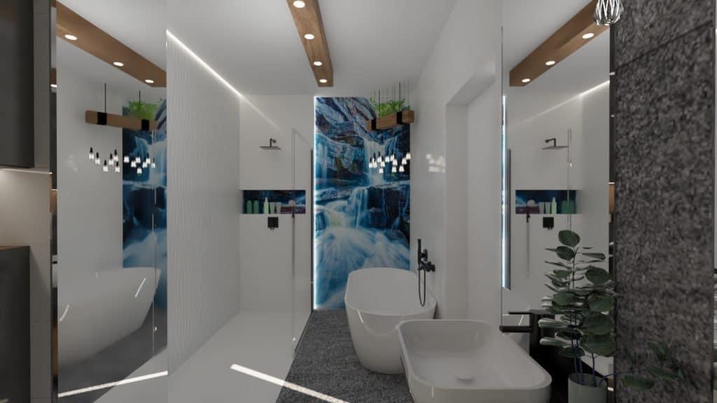 projektanci wnętrz lazienka z lustrem i wodospadem 1a Łazienka z wodospadem