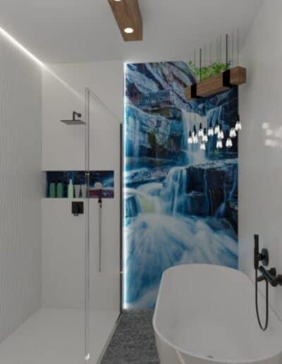 projektanci wnętrz lazienka z lustrem i wodospadem 1b Łazienka z wodospadem