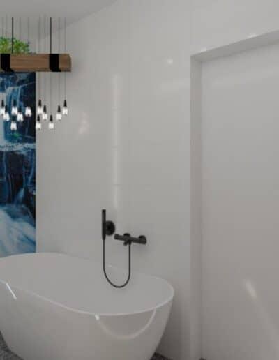 projektanci wnętrz lazienka z lustrem i wodospadem 1c Łazienka z wodospadem