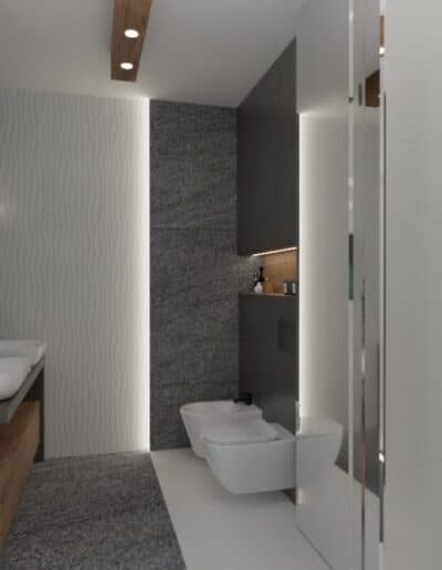 projektanci wnętrz lazienka z lustrem i wodospadem 1f Łazienka z wodospadem