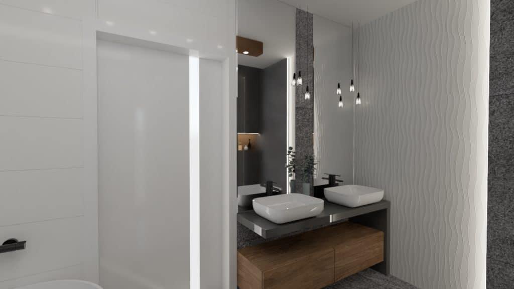 projektanci wnętrz lazienka z lustrem i wodospadem 1g Łazienka z wodospadem