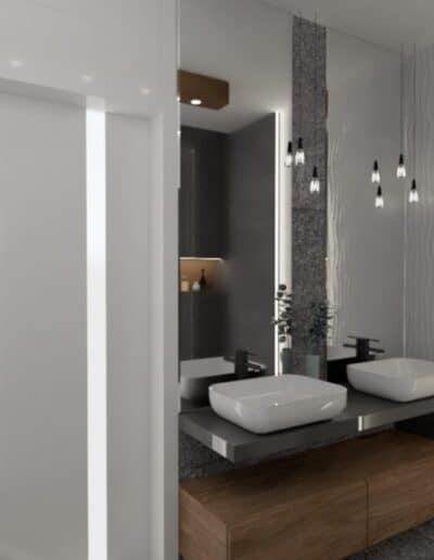 projektanci wnętrz lazienka z lustrem i wodospadem 1h Łazienka z wodospadem
