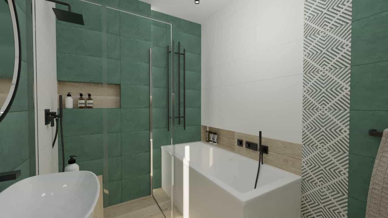 Łazienka zielona zczarnymi dodatkami