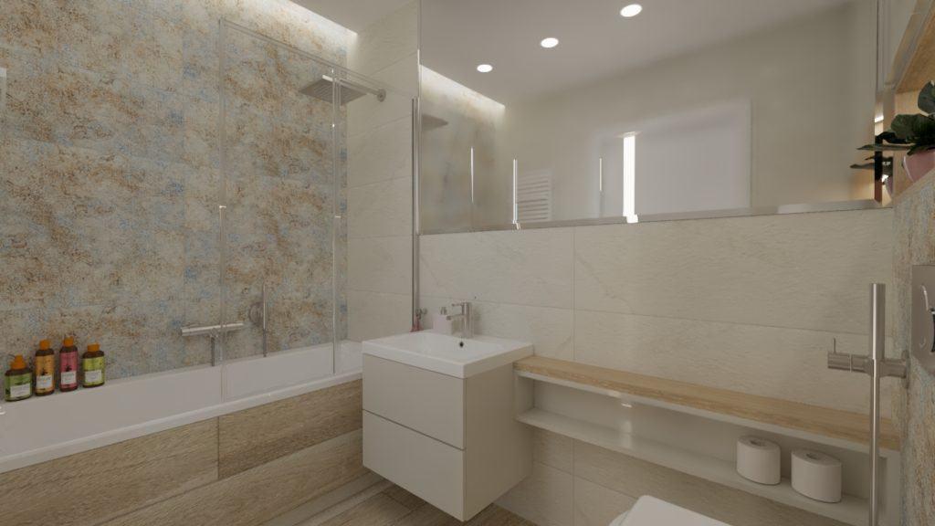 projektanci wnętrz marmurowa lazienka z wanna umywalka 1a Łazienka z niebieskim detalem