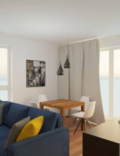 projektanci wnętrz mieszkanie na goclawiu 1a Mieszkanie na Gocławiu salon kuchnia