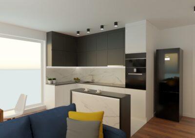 Mieszkanie na Gocławiu kuchnia salon