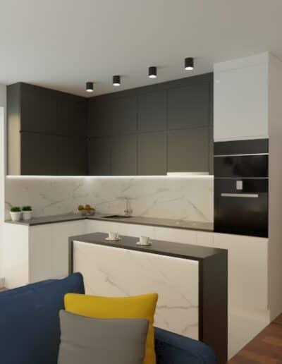 projektanci wnętrz mieszkanie na goclawiu 1b Mieszkanie na Gocławiu salon kuchnia
