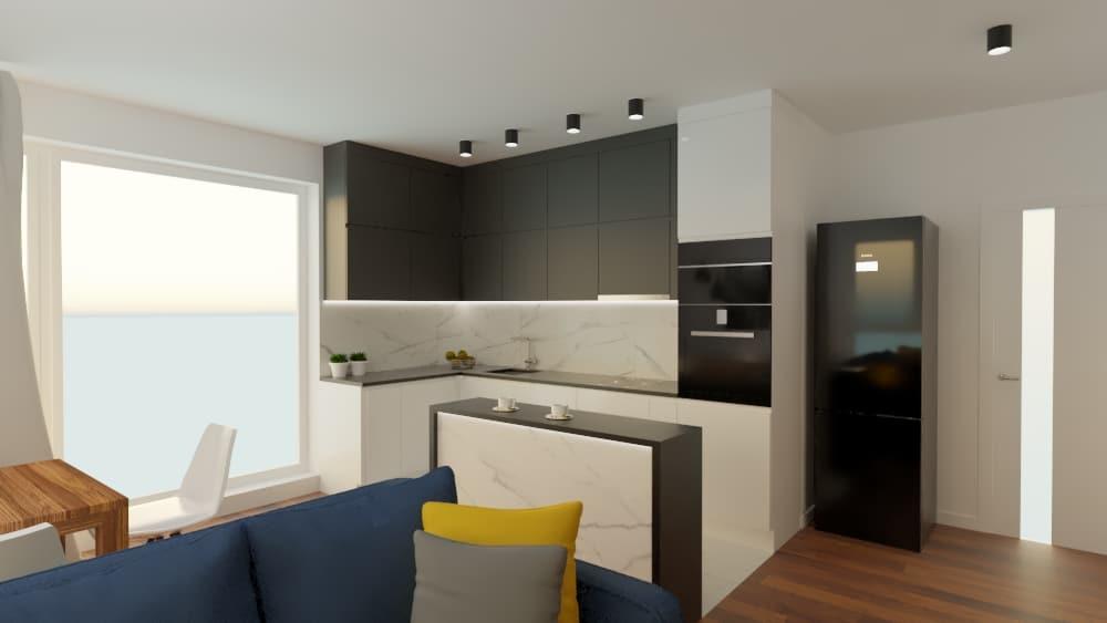 Mieszkanie naGocławiu kuchnia salon