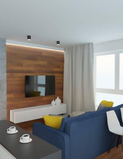 projektanci wnętrz mieszkanie na goclawiu 1h Mieszkanie na Gocławiu salon kuchnia