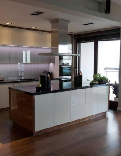 projektanci wnętrz mieszkanie na zoliborzu kuchnia 1C Kuchnia otwarta na salon Żoliborz