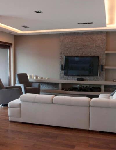 projektanci wnętrz mieszkanie na zoliborzu salon 01C Salon w apartamentowcu na Żoliborzu
