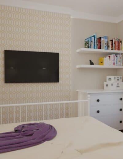 projektanci wnętrz mokotow pokoj dla corki 1e Pokój z sypialnią dla dziewczynki