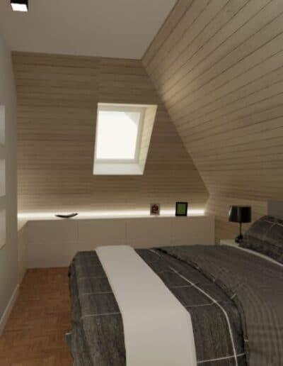 projektanci wnętrz nadarzyn sypialnia cegla 2b Sypialnia Nadarzyn z żółtym fotelem