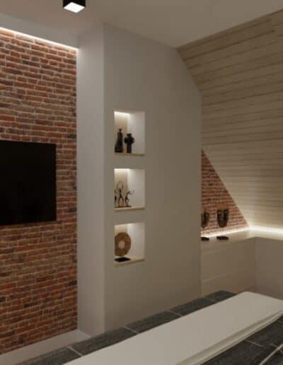 projektanci wnętrz nadarzyn sypialnia cegla 2c Sypialnia Nadarzyn z żółtym fotelem