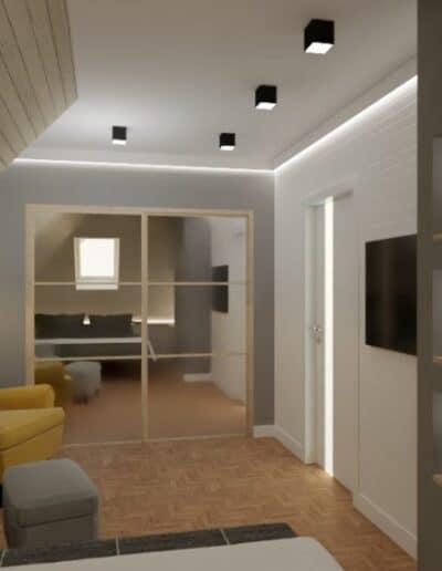 projektanci wnętrz nadarzyn sypialnia cegla 2e Sypialnia Nadarzyn z żółtym fotelem