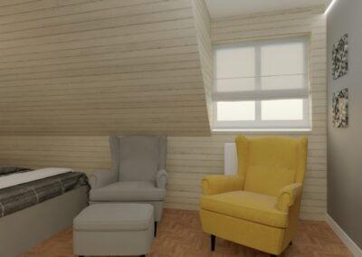 Sypialnia Nadarzyn z żółtym fotelem