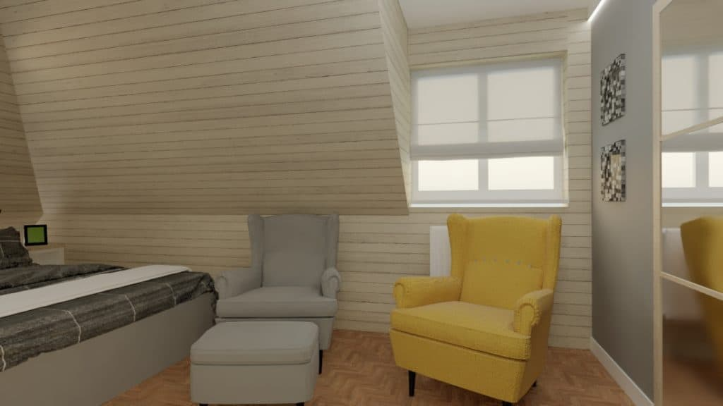 Sypialnia Nadarzyn zżółtym fotelem