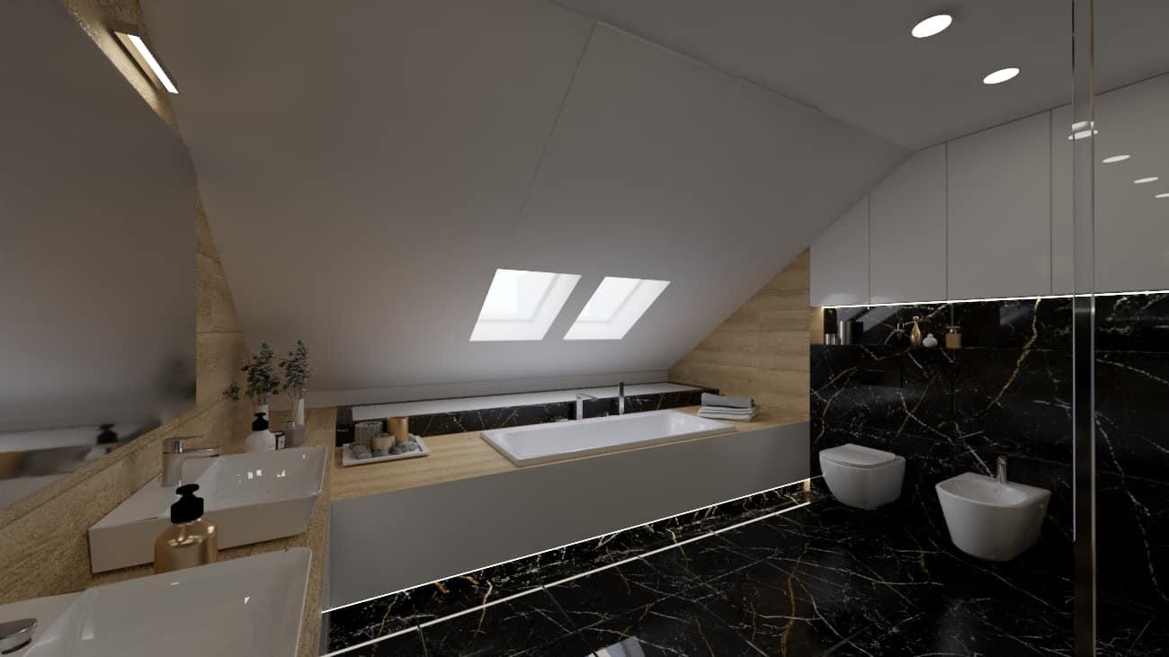 projektanci wnętrz poddasze lazienka z czarnym marmurem 1c Poddasze łazienka z czarnym marmurem