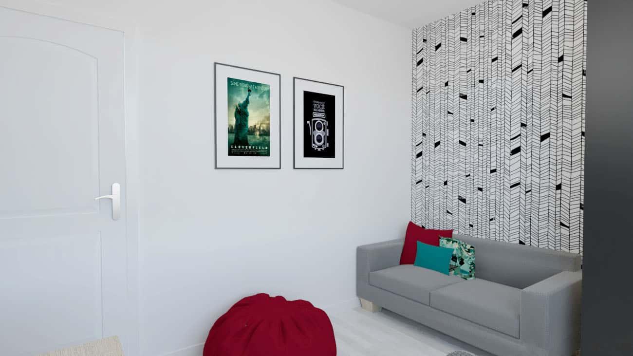 projektanci wnętrz pokoj bialo czarna tapeta 1b POKÓJ z ciekawą biało – czarną tapetą