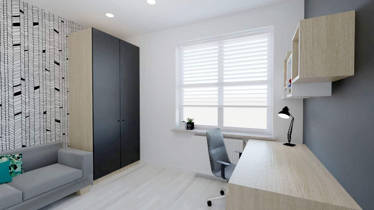 projektanci wnętrz pokoj bialo czarna tapeta 1d POKÓJ z ciekawą biało – czarną tapetą