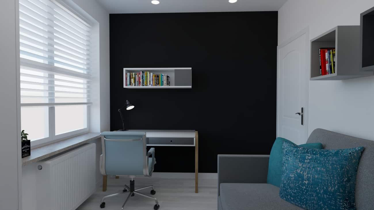 pokoj bialo czarna tapeta