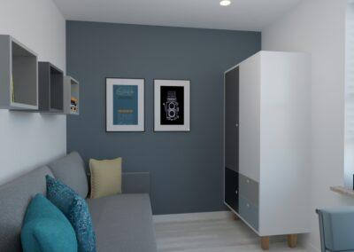 Szaro-biały pokój dla chłopca