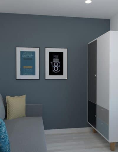 projektanci wnętrz pokoj chlopca szaro bialy 1c Szaro-biały pokój dla chłopca